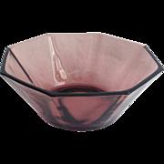 Hazel Atlas Moroccan Amethyst Mid Century Glass Octagonal Bowl