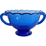 Hazel Atlas Cobalt Blue Florentine Number 1 Poppy Depression Glass Ruffled Sugar Bowl