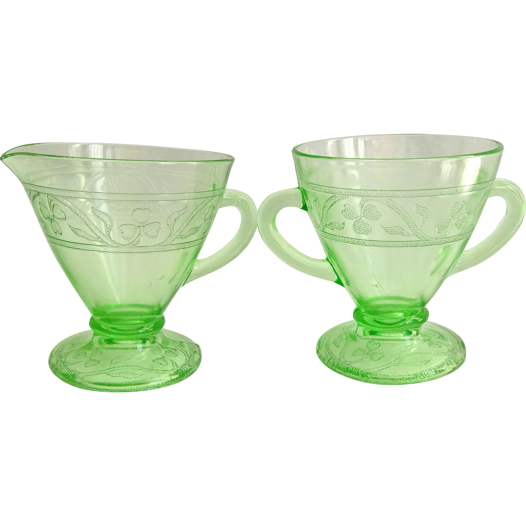 Hazel Atlas Cloverleaf Green Depression Glass Sugar and Creamer