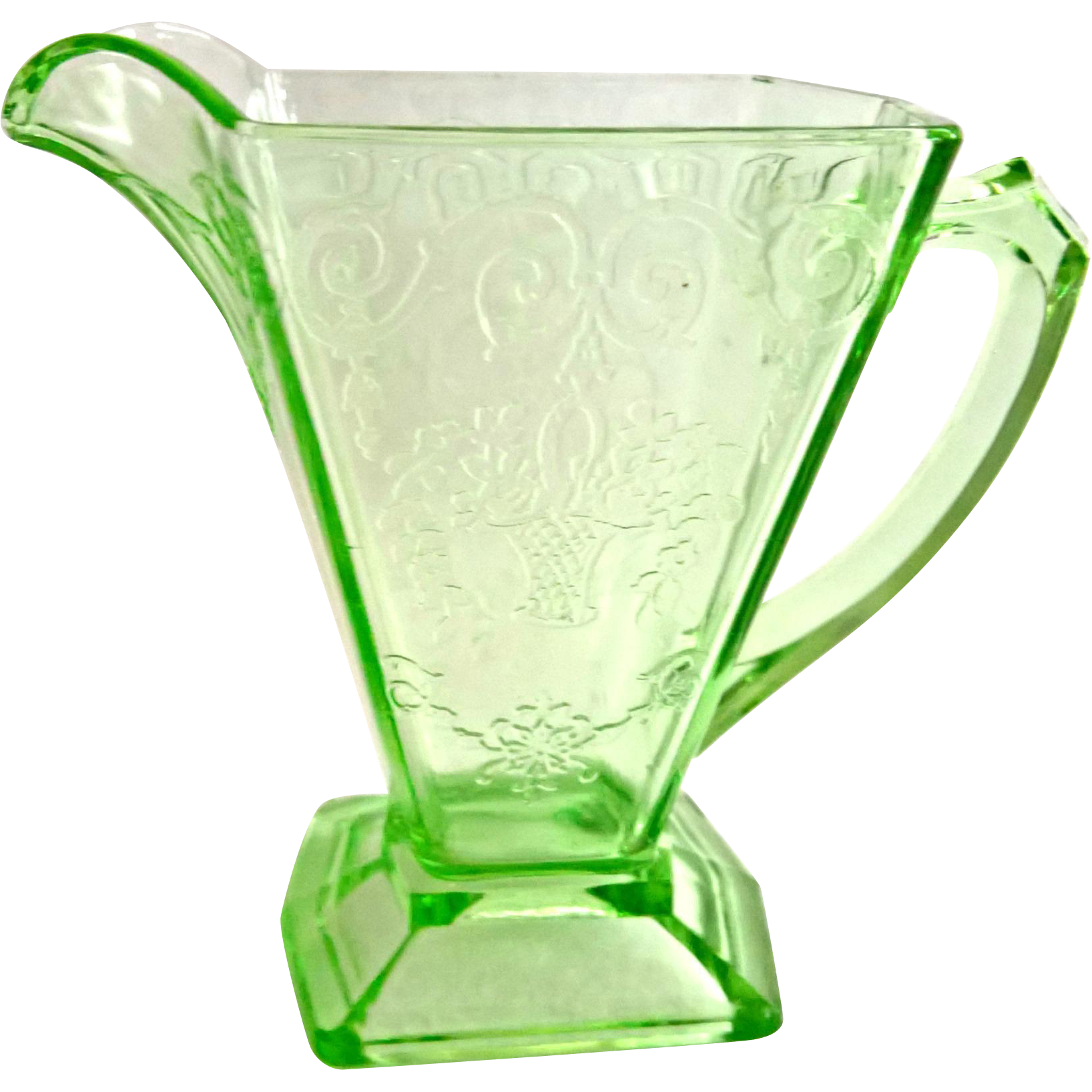 Indiana Lorain Basket Green Depression Glass Creamer and Sugar