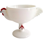 Westmoreland Milk Glass Cold Painted Rooster Cocktail Cup