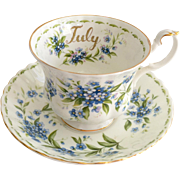 Royal Albert Bone China July Flower of the Month Series Forget-Me-Not Teacup and Saucer 1970s