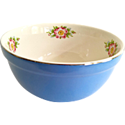 Hall Royal Rose Cadet Blue and White 8-1/2 Inch Mixing Bowl