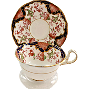 Royal Stafford Bone China 3635 Imari Style Cobalt Blue, Red, and Gold Teacup and saucer