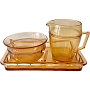 Fostoria Priscilla Amber Depression Era Elegant Glass Cream and Sugar Set with Tray