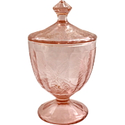 Jeannette Floral Poinsettia Pink Depression Glass Covered Candy Jar