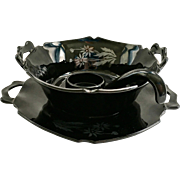 LE Smith Mt. Pleasant Black Depression Glass Three Piece Mayonnaise Set with Silver Daisy Decoration