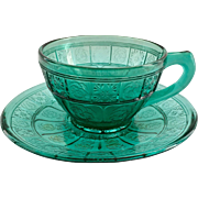 Jeannette Doric and Pansy Ultramarine Depression Glass Cup and Saucer