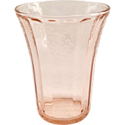 Hazel Atlas Fruits Pink Depression Glass Grapes Design Tumbler