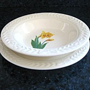 Two 1940s Universal Cambridge Laurella 'Jonquil' Sauce/Dessert bowl  - Matching Saucer Included