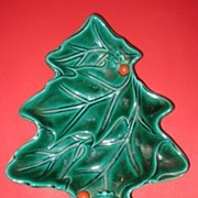 Lefton Green Holly Tree Shaped Candy Dish