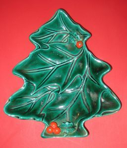 Lefton Green Holly Tree Shaped Candy Dish