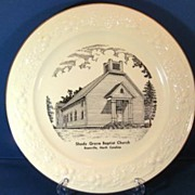 Circa 1960 Shady Grove Baptist Church Boonville North Carolina Homer Laughlin Collectible Plate