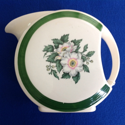 Cronin Disc Pitcher with Green Band and Open White Flowers