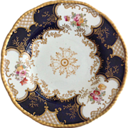 Coalport Bone China Cobalt Blue Paneled and Gold Encrusted Bread and Butter Display Plate
