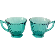 Jeannette Swirl Ultra Marine Depression Glass Cups - Set of Two