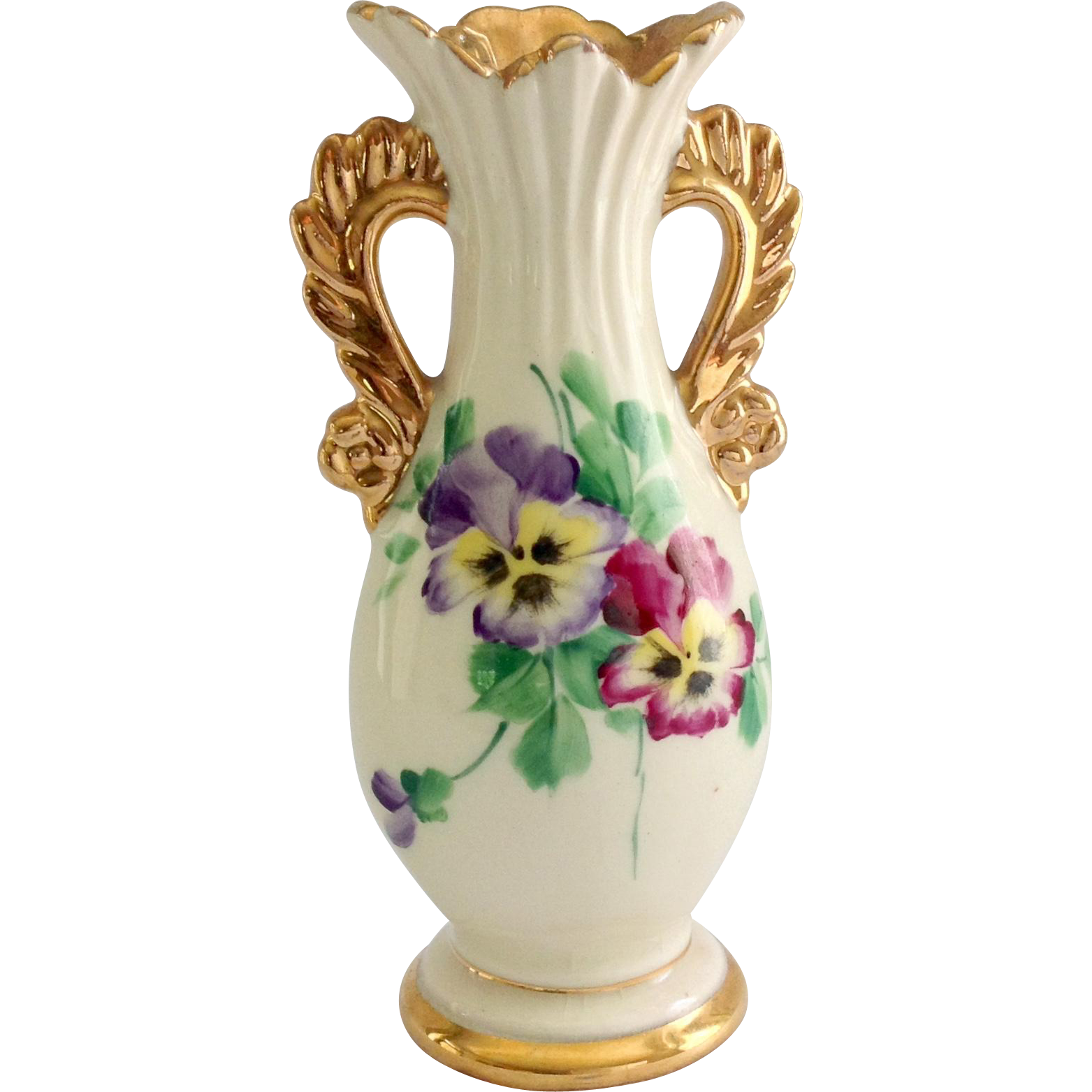 Le Pere Pottery Hand Painted Pansies Gold Trim Vase From Maggiebelles On Ruby Lane