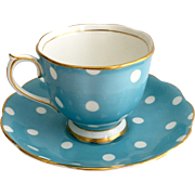 Royal Albert Bone China Polka Dots Turquoise Blue Teacup and Saucer