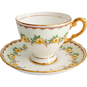 Tuscan Bone China D1122 Yellow Primrose Flowers Teacup and Saucer