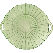 Jeannette Sierra Pinwheel Green Depression Glass Two-Handled Serving Tray