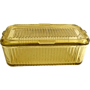 Federal Glass Golden Glow Yellow Vertical Ribbed Covered Oblong Refrigerator Dish