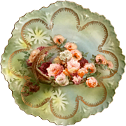 RS Germany Wheelock Porcelain Basket of Roses Transfer Plate