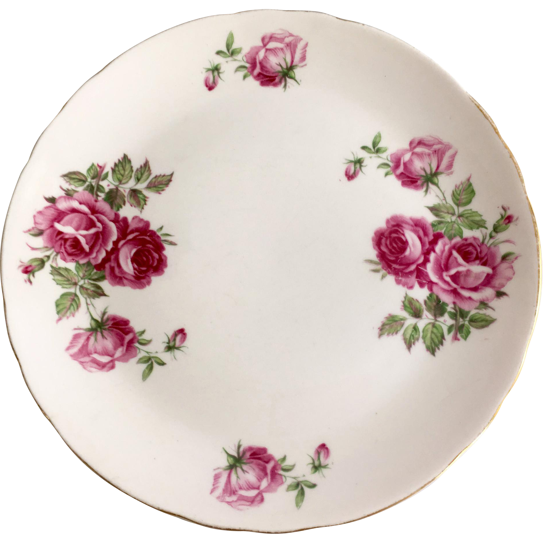 Tuscan Bone China Pink Luncheon Plate with Deep Pink Roses