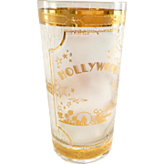 Culver Glass 22K Gold Mid Century Commemorative Hollywood California Chinese Theatre Highball Tumbler