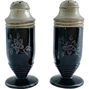 Hazel Atlas Floral Sterling Black Glass Salt and Pepper Shakers