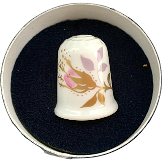 Coalport Bone China Chintz Rose Thimble in Original Box