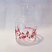 Concentrated Milk Bottle Red Cowboys and Horses on Clear Glass Circa 1950s