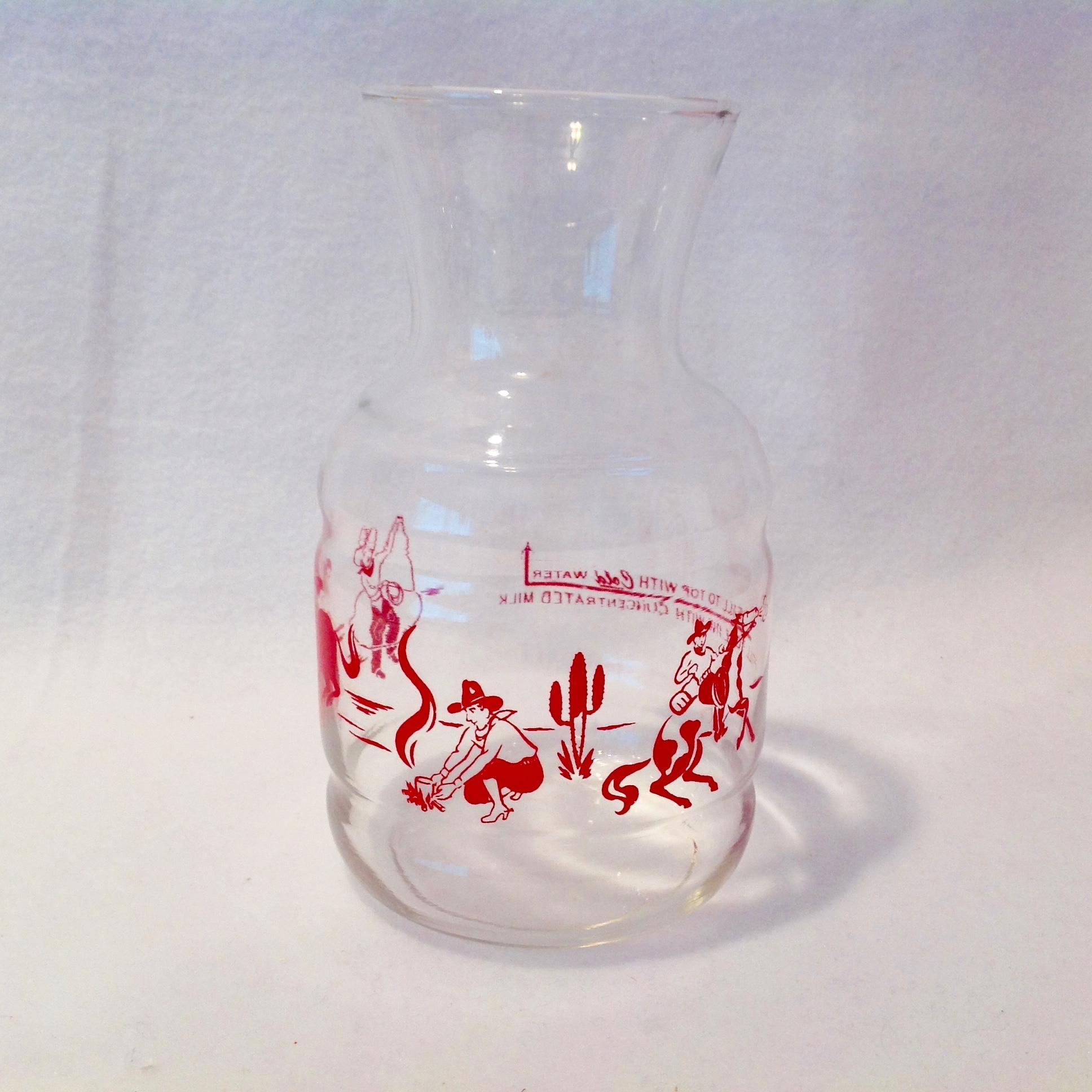Red Cowboys and Horses Glass Bottle Concentrated Milk Circa 1950s