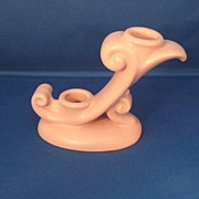 Abingdon Pottery Matte Pink Double Candleholder