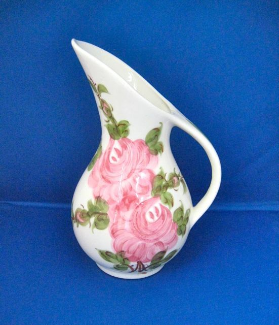 Cash Family Pottery Tennessee Hand Painted Roses Pitcher Vintage 1960s