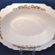 1930s WS George Flower Rim Lido Shape Oval Vegetable Bowl