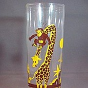 Federal Glass Circa 1950s Monkey and Giraffe Brown and Yellow Tumbler