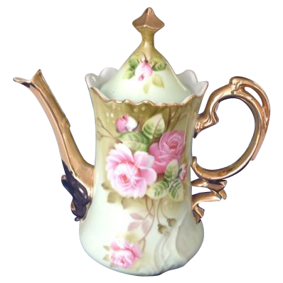 Lefton China Green Heritage Roses Coffee Pot NE 3065