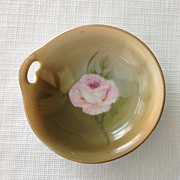 Pair of Bavaria Handled Butter Pats with Hand Painted Rose