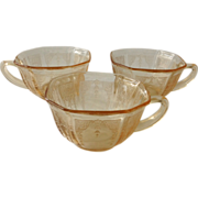 Hocking Princess Apricot -Yellow Depression Glass Cups - Set of Three