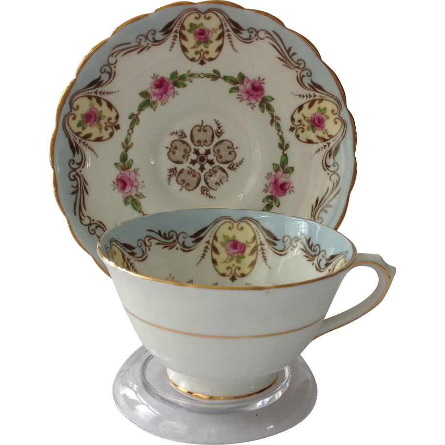 Tuscan Bone China Light Blue Teacup and Saucer Rose Medallions Gold Trim