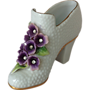 Sweet Violet Porcelain Shoe Figurine  with Rhinestone Centers