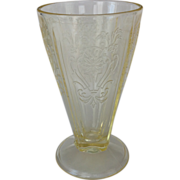 US Glass Primo Paneled Aster Yellow Depression Glass Footed Tumbler
