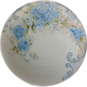 T&V Limoges France Blue Hand Painted Forget-Me-Nots Plate Early 1900s