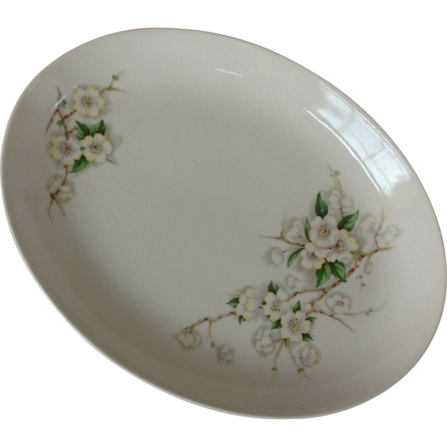 Vintage American Dinnerware Unmarked Apple Blossom Floral Platter with Matching Serving Bowl