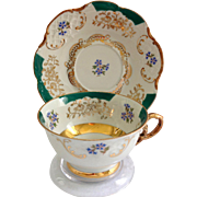 Winterling Bavaria Green and Gold Filigree Teacup and Saucer