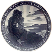 Royal Copenhagen Monochromatic Blue 1918 Commemorative Peace Plate