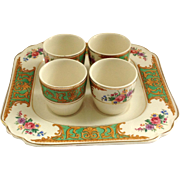 J&G Meakin Glasgow Square Plate Stand with Four Egg Cups Green and Gold Floral