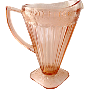Jeannette Adam Pink Depression Glass Cone Shaped Square Footed Pitcher