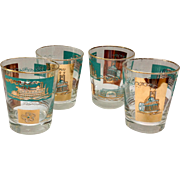 Libbey Southern Comfort Set of Four 22K Gold and Aqua Riverboat Double Old-Fashioned Glasses circa 1968