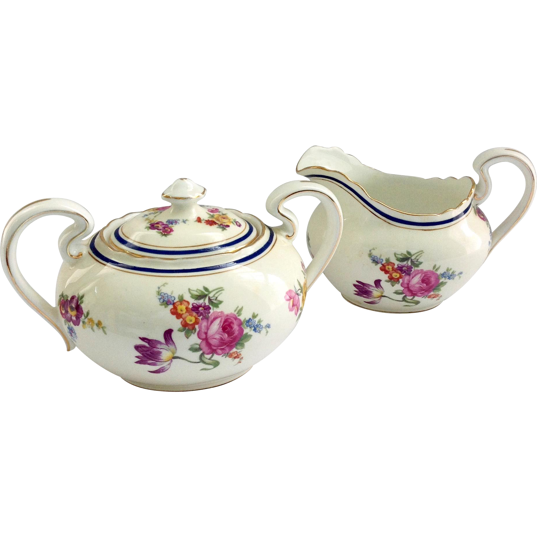 Aynsley Claridge Cobalt Band Bone China Creamer and Sugar